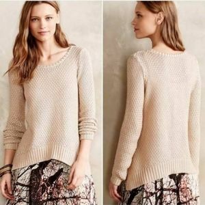 Moth Gold Shimmer Stitch Pullover Sweater M